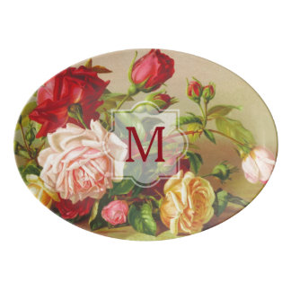 Monogram Vintage Victorian Roses Bouquet Flowers Porcelain Serving Platter