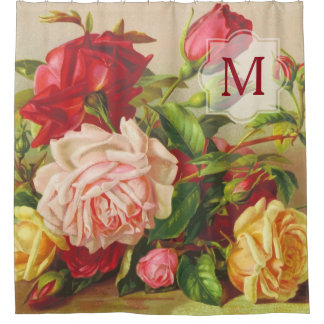Monogram Vintage Victorian Roses Bouquet Flowers Shower Curtain