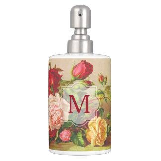 Monogram Vintage Victorian Roses Bouquet Flowers Soap Dispenser And Toothbrush Holder