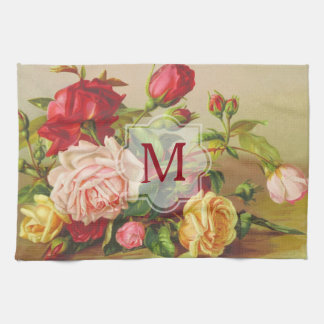 Monogram Vintage Victorian Roses Bouquet Flowers Tea Towel