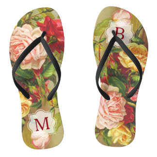 Monogram Vintage Victorian Roses Bouquet Flowers Thongs