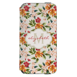 Monogram Vintage Victorian Watercolor Floral Incipio Watson™ iPhone 6 Wallet Case