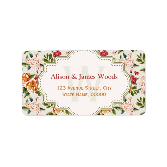 Monogram Vintage Victorian Wedding Floral Label