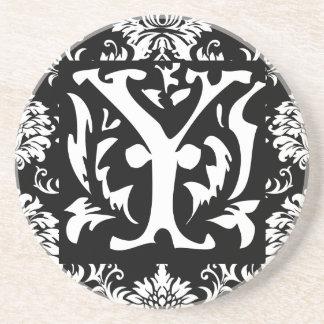 Monogram Vintage Y  Wedding Anniversary Coasters