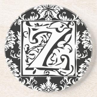 Monogram Vintage Z  Wedding Anniversary Coasters