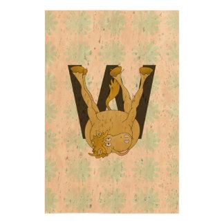 Monogram W Agile Pony Customized Cork Paper Print