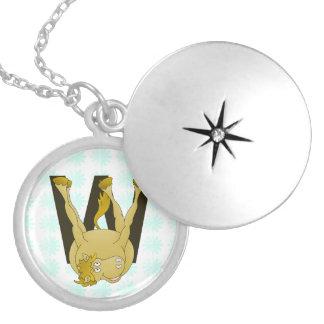 Monogram W Agile Pony Customized Round Locket Necklace