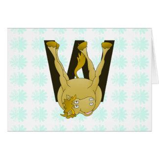 Monogram W Funny Pony Personalized Greeting Card
