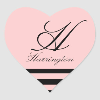 """Monogram w/ Stripes in Lucia Font"" Heart Sticker"