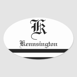 """Monogram w/ Stripes in Wedding Font"" Oval Sticker"