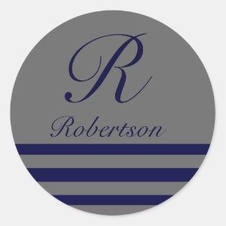 """Monogram w/ Stripes"" Navy Blue/Med. Gray Classic Round Sticker"