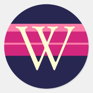 Monogram W Wedding Pink Navy Ivory Stickers