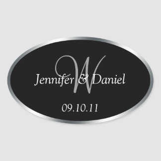 Monogram W Wine Labels To Customize Oval Sticker