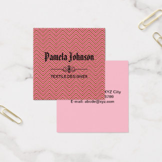 Monogram Warm Pastel Chevron Square Business Card