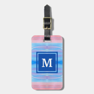 Monogram Watercolor Blue Pink Ombre Gradation Luggage Tag