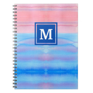 Monogram Watercolor Blue Pink Ombre Gradation Note Books