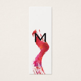 Monogram Watercolor brush Mini Business Card