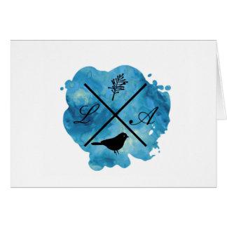 monogram watercolor card in blue