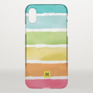 Monogram. Watercolor Cute Rainbow Colors. iPhone X Case