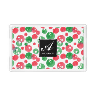 Monogram Watercolor Dots Holiday Green and Red Acrylic Tray