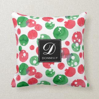 Monogram Watercolor Dots Holiday Green and Red Cushion