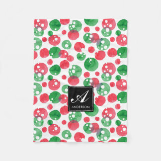 Monogram Watercolor Dots Holiday Green and Red Fleece Blanket