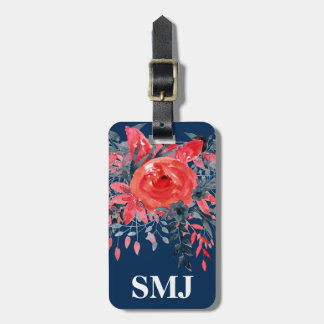 Monogram Watercolor Floral Blue Denim / Red Rose Luggage Tag