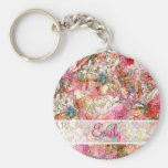 Monogram Watercolor Floral Pattern Abstract Sketch Basic Round Button Key Ring