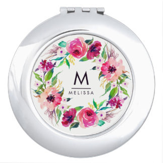 Monogram Watercolor Floral Stylish Compact Mirror