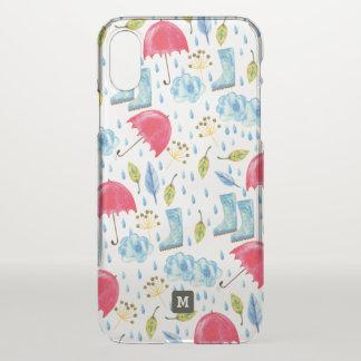 Monogram. Watercolor Flowers. Boots & Umbrellas. iPhone X Case