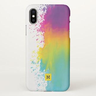Monogram. Watercolor Grunge Rainbow Colors. iPhone X Case