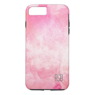 Monogram watercolor hipster pastel pink create own iPhone 7 plus case