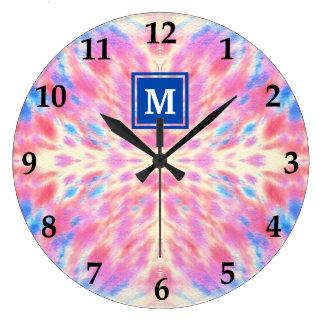 Monogram Watercolor Pink Blue Floral Fireworks Wallclock