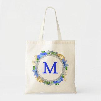Monogram Watercolor Wreath Bling Tote Bag