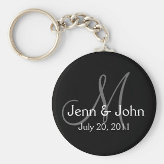 Monogram Wedding Bride Groom Date Black Key Chain