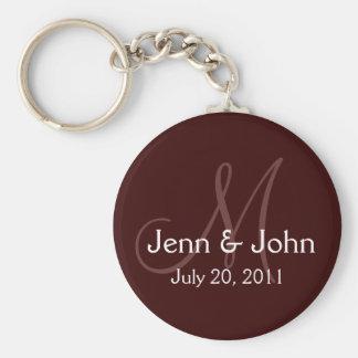 Monogram Wedding Bride Groom Date Chocolate Basic Round Button Key Ring