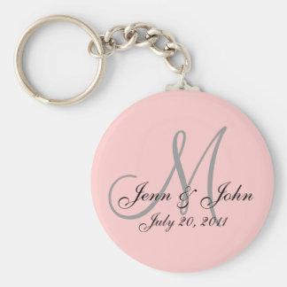 Monogram Wedding Bride Groom Date Pink Key Chain