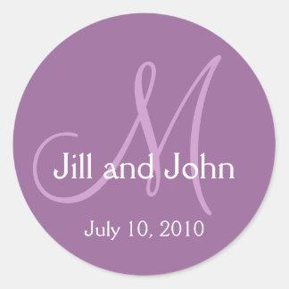 Monogram Wedding Bride Groom Date Purple Sticker