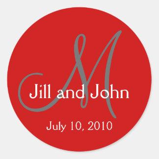Monogram Wedding Bride Groom Date Red Sticker
