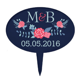 Monogram wedding cake topper navy and pink