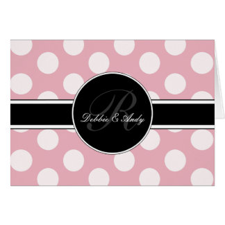 Monogram Wedding Cards Polka Dot