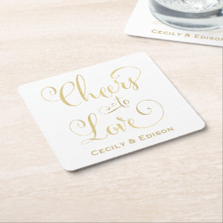 Monogram Wedding Coasters | Cheers to Love Design Square Paper Coaster