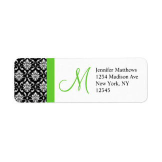 Monogram Wedding Damask Return Address Labels