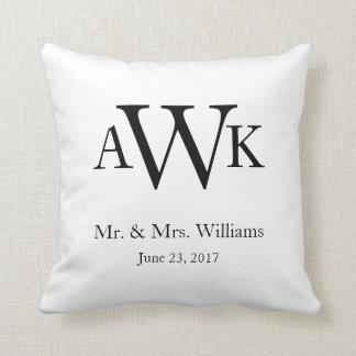 Monogram Wedding Date Pillow2 Cushion