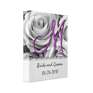 Monogram Wedding Date White Roses Stretched Canvas Prints