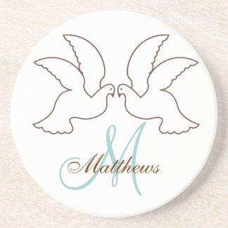 Monogram Wedding Doves Coaster Brown Blue