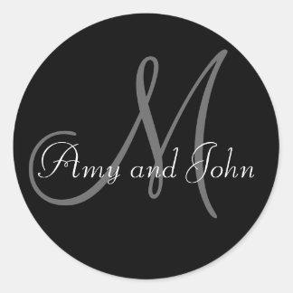 Monogram Wedding Favour Sticker Black