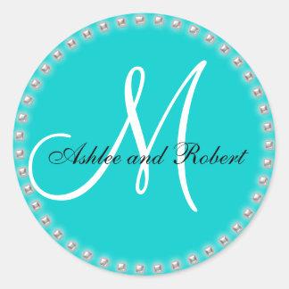 Monogram Wedding Favour Sticker Silver Pearl Aqua