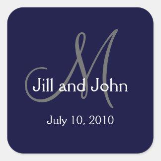 Monogram Wedding Favour Stickers Navy