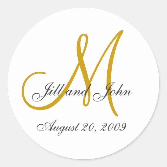 Monogram Wedding Initial Bride Groom Gold Seal Round Sticker